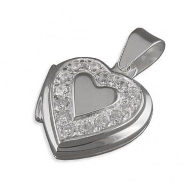 Sterling Silver Cubic Zirconia Surround Heart Locket On A Snake Necklace