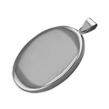 Men's Sterling Silver Large Flat Plain Oval Locket On A Black Leather Cord Necklace