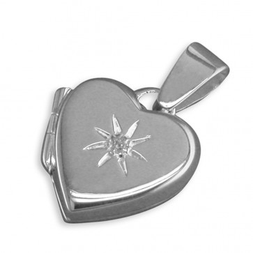 Sterling Silver Cubic Zirconia In Starburst Plain Heart Locket On A Snake Necklace