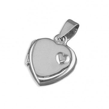 Men's Sterling Silver Heart With Small Raised Offset Heart Locket On A Black Leather Cord Necklace