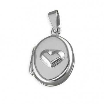 Sterling Silver Raised Heart Oval Locket On A Snake Necklace