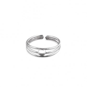 Sterling Silver Polished Bead In Triple Band Toe Ring