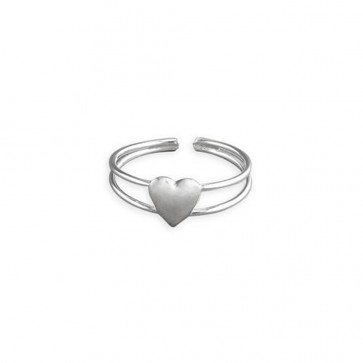 Sterling Silver Polished Heart In Split Band Toe Ring