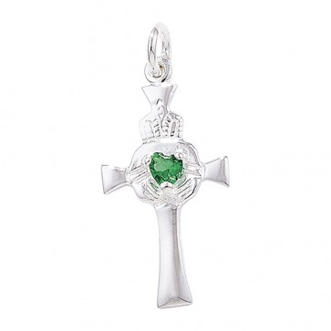 Men's Sterling Silver Claddagh Cross with Green Agate Pendant On A Black Leather Cord Necklace