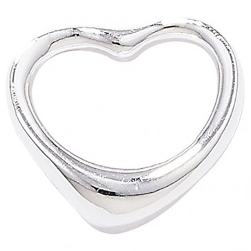 Sterling Silver Plain Small Open Heart Pendant On A Snake Necklace