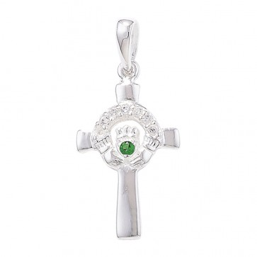 Sterling Silver Claddagh Cross with Green Agate Pendant On A Snake Necklace