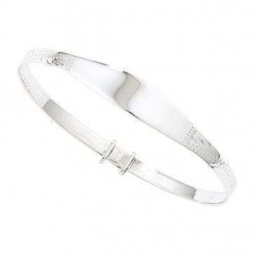 Childrens Sterling Silver Expandable ID Bangle