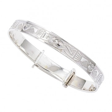 Childrens Sterling Silver Claddagh Expandable Christening Bangle