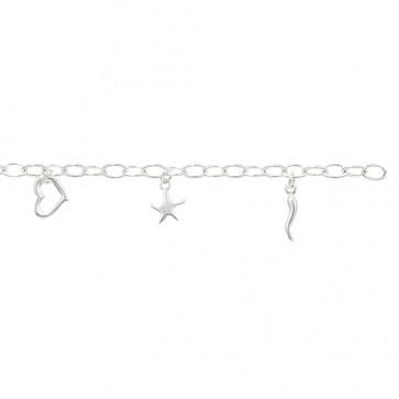 Childrens Sterling Silver Heart & Star Bracelet