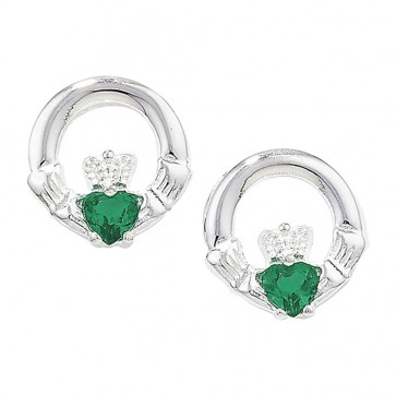 Sterling Silver Claddagh with Green Agate Earrings