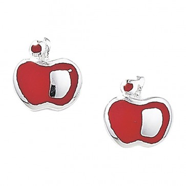 Childrens Sterling Silver Red Apple Stud Earrings