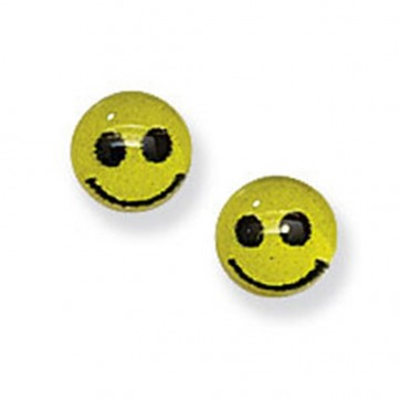 Childrens Sterling Silver Yellow Smiley Face Stud Earrings