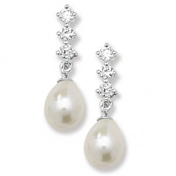 Sterling Silver Pearl & Cubic Zirconia Drop Earrings