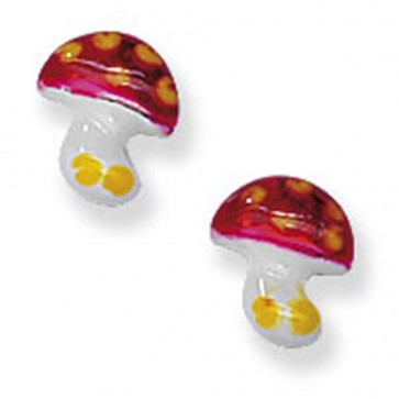 Childrens Sterling Silver Mushroom Stud Earrings