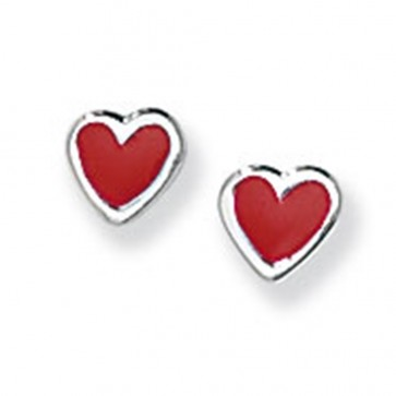 Childrens Sterling Silver Red Heart Stud Earrings