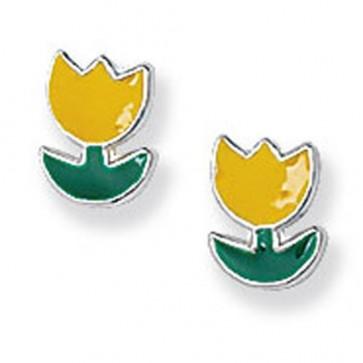 Childrens Sterling Silver Yellow Flower Stud Earrings