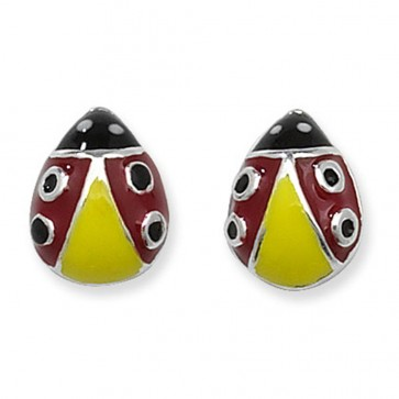 Childrens Red Ladybird Stud Earrings