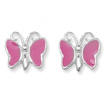 Childrens Pink Butterfly Stud Earrings
