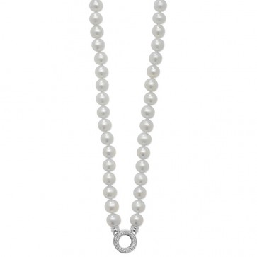 Sterling Silver Pearl & Cubic Zirconia Circle Necklet