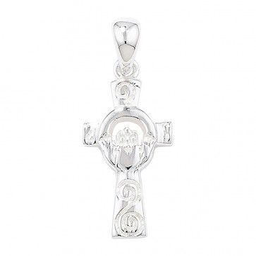 Sterling Silver Claddagh Cross Pendant On A Snake Necklace