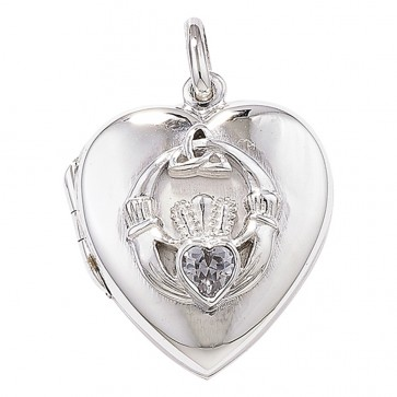 Sterling Silver Claddagh Heart With Cubic Zirconia Locket On A Snake Necklace