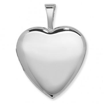 Sterling Silver One Side Polished Plain Heart Locket