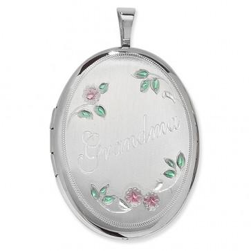 Sterling Silver Grandma Oval Locket On A Snake Necklace