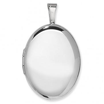 Sterling Silver One Side Polished Plain Oval Locket On A Snake Necklace