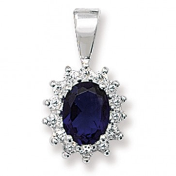 Sterling Silver Blue Sapphire & Cubic Zirconia Pendant On A Snake Necklace