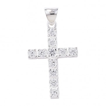 Men's Sterling Silver Claw Set Cubic Zirconia Cross Pendant On A Black Leather Cord Necklace