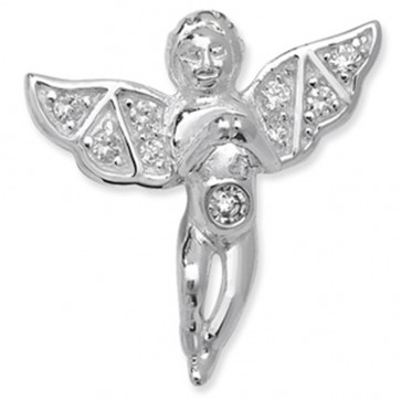 Sterling Silver Cubic Zirconia Angel Pendant On A Snake Necklace