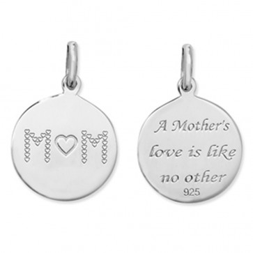 Sterling Silver Double Sided Mum Pendant