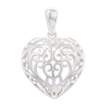 Children's Sterling Silver Filagree Heart Pendant On A Curb Necklace
