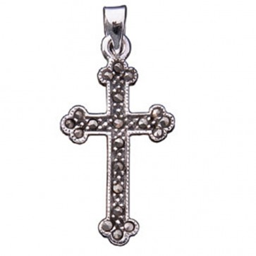 Men's Sterling Silver Marcasite Cross Pendant On A Black Leather Cord Necklace