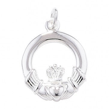 Children's Sterling Silver Claddagh Pendant On A Curb Necklace
