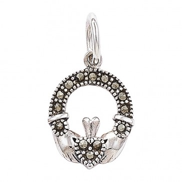 Children's Sterling Silver Marcasite Claddagh Pendant On A Curb Necklace