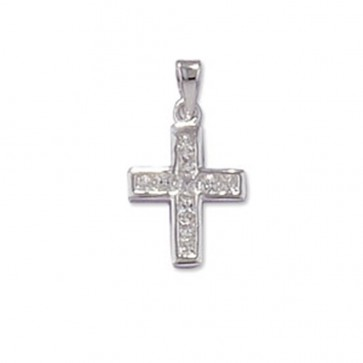 Men's Sterling Silver Cubic Zirconia Cross Pendant On A Black Leather Cord Necklace