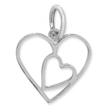Sterling Silver Plain Cut Out Heart Pendant On A Snake Necklace