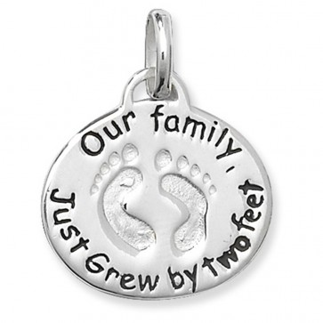 Sterling Silver Our Family Just Grew By Two Feet Pendant On A Snake Necklace