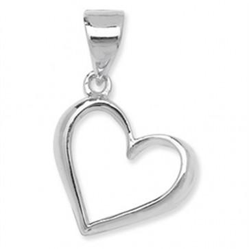 Sterling Silver Plain Open Heart Pendant On A Snake Necklace