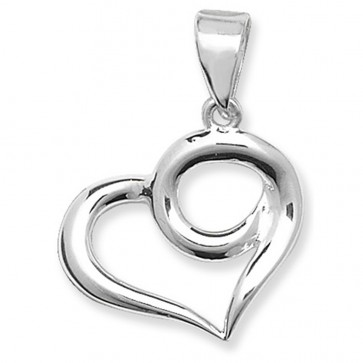 Sterling Silver Plain Fancy Heart Pendant On A Snake Necklace