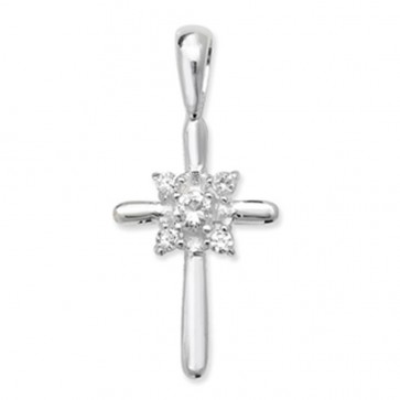 Sterling Silver Cubic Zirconia Cross Pendant On A Snake Necklace