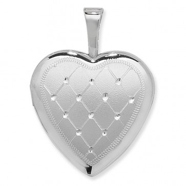 Sterling Silver Quilt Pattern Heart Locket On A Snake Necklace