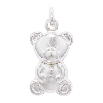 Children's Sterling Silver Teddy Bear Pendant On A Curb Necklace