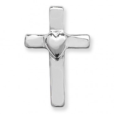 Men's Sterling Silver Plain Heart Cross Pendant On A Black Leather Cord Necklace