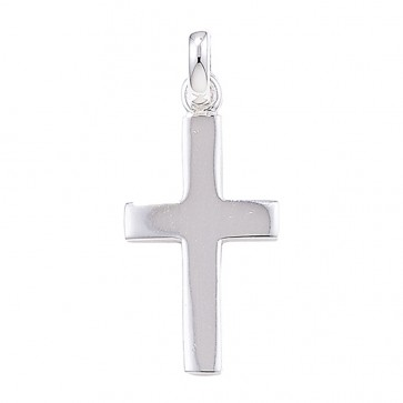 Sterling Silver Plain Cross Pendant On A Snake Necklace