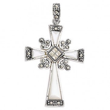 Men's Sterling Silver Mother Of Pearl & Marcasite Cross Pendant On A Black Leather Cord Necklace