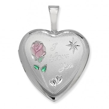 Children's Sterling Silver I Love You Heart Locket On A Curb Necklace
