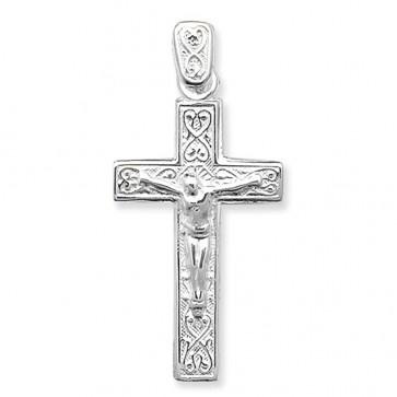 Children's Sterling Silver Plain Fancy Crucifix Pendant On A Curb Necklace