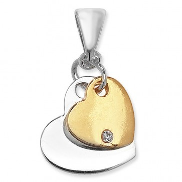 Children's Sterling Silver & Gold Plated Double Heart With Cubic Zirconia Pendant On A Curb Necklace